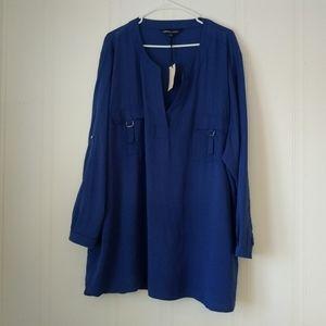Capsule Wardrobe Blue Tunic Shirt Button Front 28